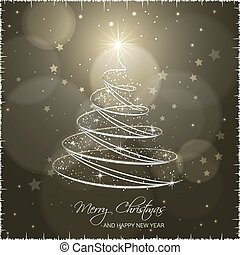 Christmas tree on abstract vector background.