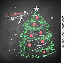 Christmas tree on black chalkboard background - Color chalk...