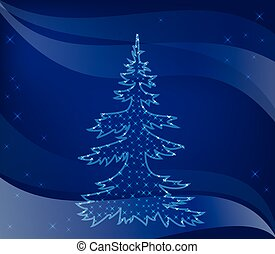 christmas tree on blue background