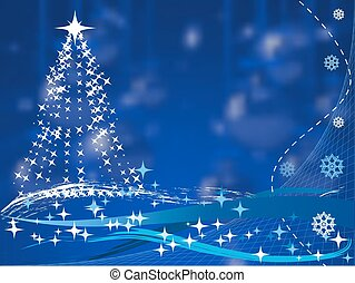 christmas tree on blue background with balls