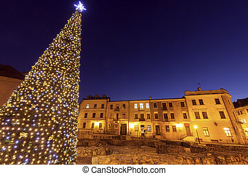 Christmas tree on Fara Square in Lublin. Lublin, Lubelskie, Poland.
