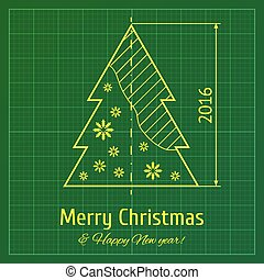 Christmas tree on graph paper - Christmas tree sketch on...