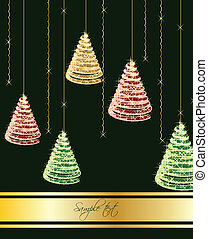 Christmas tree on green background. Vector