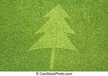 Christmas tree on green grass background