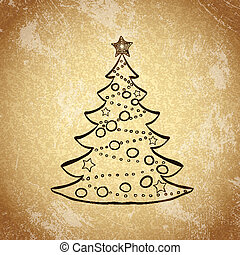 Christmas tree on grunge background sketch 1