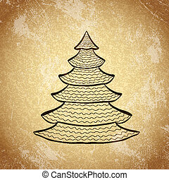 Christmas tree on grunge background sketch 2
