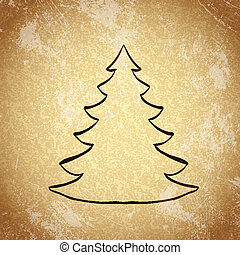 Christmas tree on grunge background sketch 3