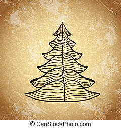 Christmas tree on grunge background sketch 4