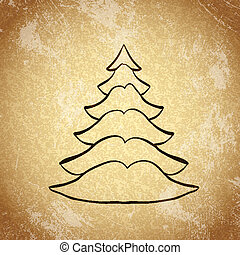 Christmas tree on grunge background sketch 5