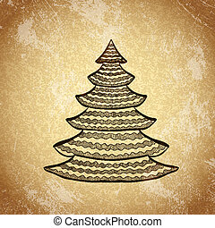 Christmas tree on grunge background sketch 6