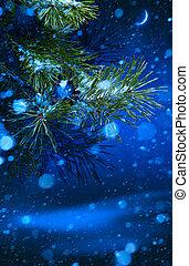 Christmas tree on night background