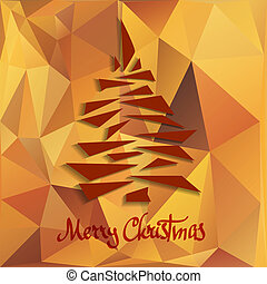 Christmas tree on orange abstract geometric background