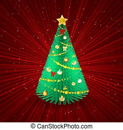 Christmas tree on red abstract background.