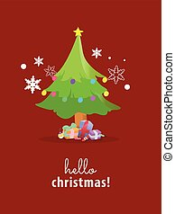 christmas tree on red background.Vector illustration.