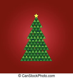 Christmas Tree on Red