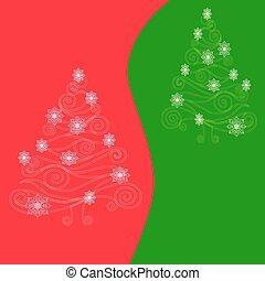 Christmas tree on red green backgro