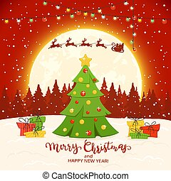 Christmas Tree on Red Winter Background