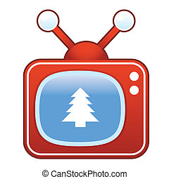 Christmas tree on retro television - Christmas tree icon on...