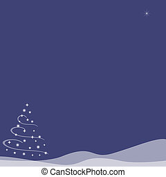 Christmas Tree on Snow Hills - Blue Indigo