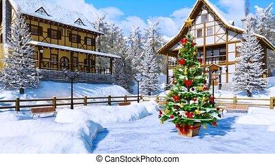 Christmas tree on snowbound alpine township square - Outdoor...