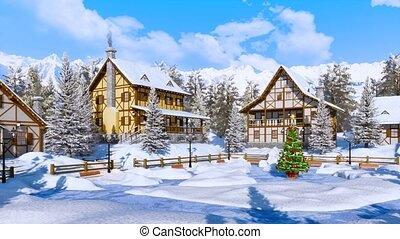 Christmas tree on snowbound alpine village square - Outdoor...