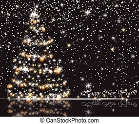 Christmas tree on snowy background. Gift card Merry Christmas, New Year and Happy Holidays celebrations