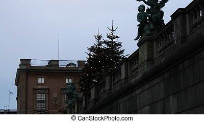 Christmas tree on Stortorget, Stockholm, Sweden.