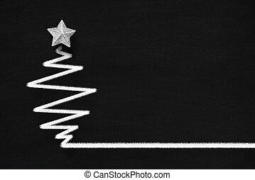 Christmas tree on the blackboard
