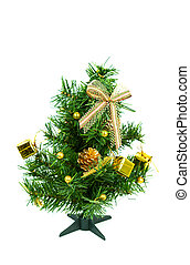 Christmas tree on white background with gifts