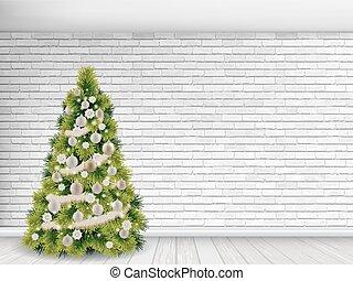 christmas tree on white brick wall background