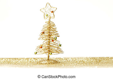 Christmas tree on white - Toy small Christmas tree with...