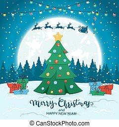 Christmas Tree on Winter Background