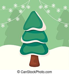 christmas tree on winter landscape