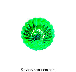christmas tree ornament of the green color on white background