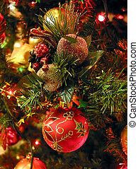 Christmas tree ornaments on Christmas tree, closeup