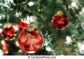 Christmas tree ornaments - Red christmas tree ornaments