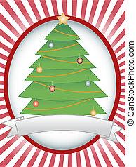 Christmas Tree Oval Banner Ray Blan