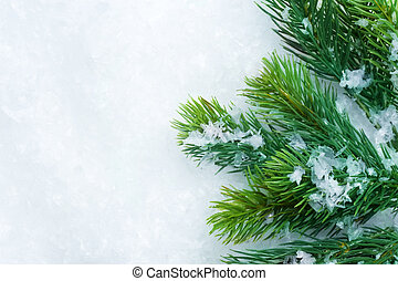 Christmas Tree over Snow. Winter Background