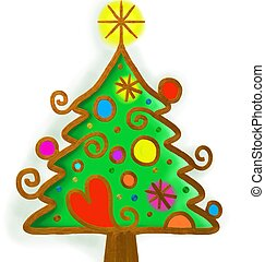 Christmas Tree Paint Doodle - A hand painted whimsical...