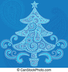 Christmas Tree Paisley Henna Vector