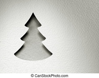 Christmas tree paper cutting design vintage monochrome card