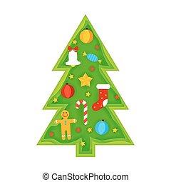 Christmas Tree Papercut. Vector Illustration. Happy New Year...
