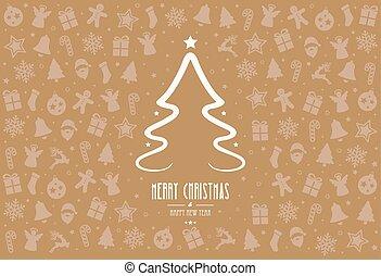 christmas tree pattern decoration elements gold background