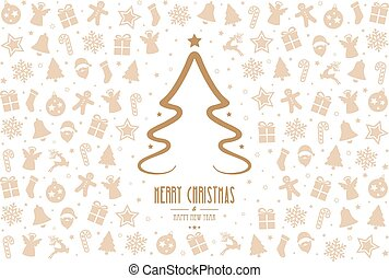 christmas tree pattern decoration elements gold white background