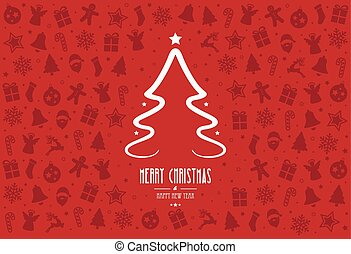 christmas tree pattern decoration elements red background