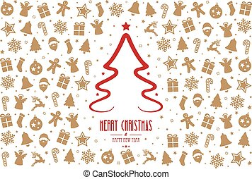 christmas tree pattern decoration elements red gold background