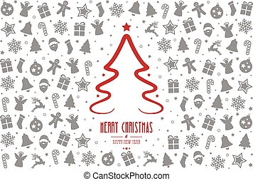 christmas tree pattern decoration elements red gray background