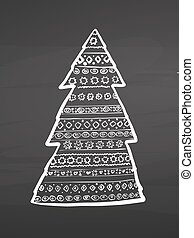Christmas tree pattern design on chalkboard