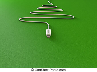 Christmas Tree Phone Charger - A mobile phone charger draped...