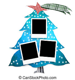 Christmas tree photo frames isolated